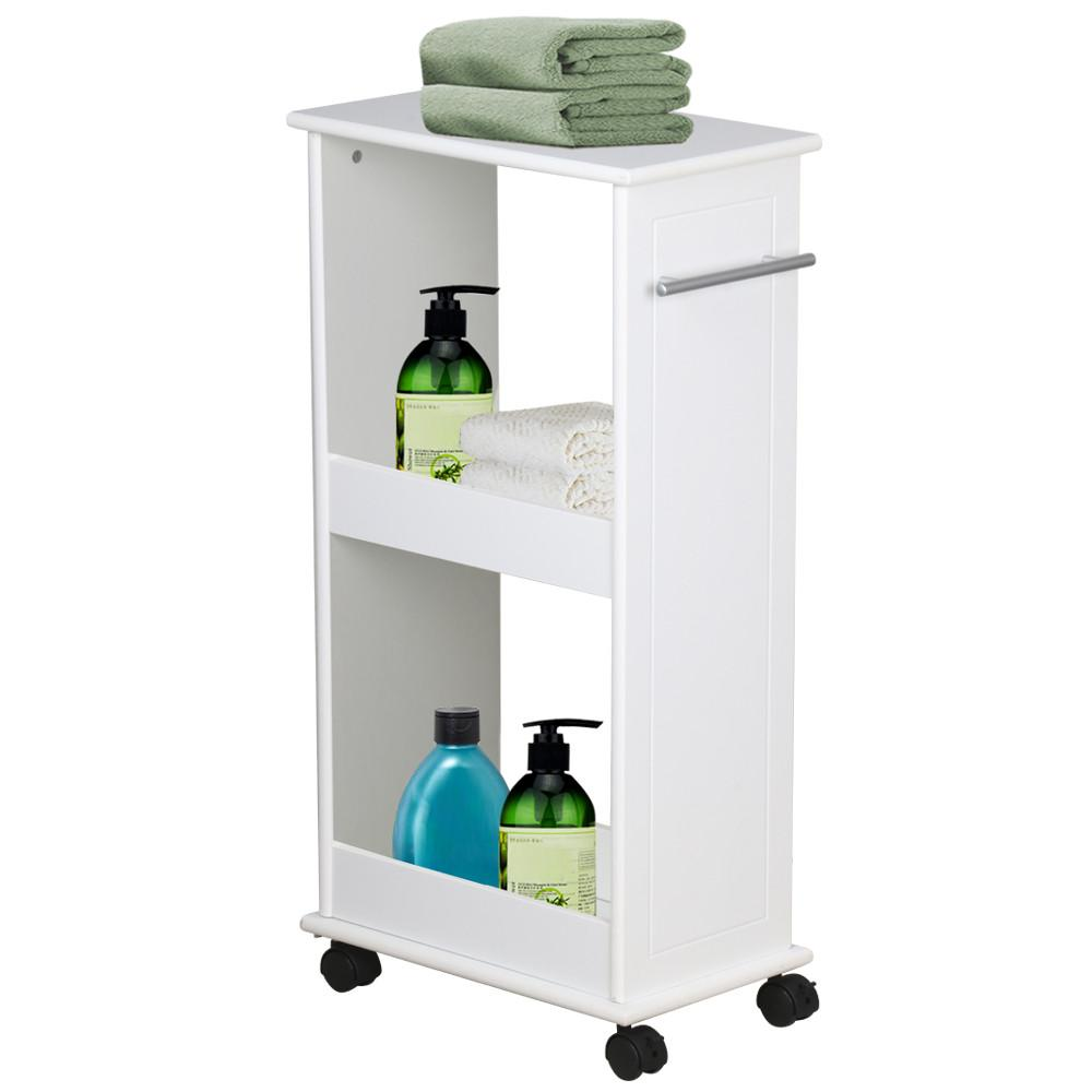 Slimline Rolling Storage Shelf With 4 Wheels Space Saver