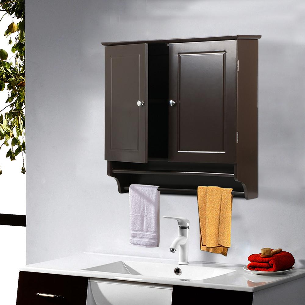 2 Door Wall Mount Storage Cabinet Kitchen Bathroom Medicine Shelf Hanging Towel
