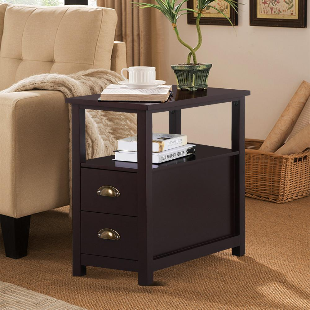 unique end tables with storage drawers table side drawers bedroom living room ebay. Black Bedroom Furniture Sets. Home Design Ideas