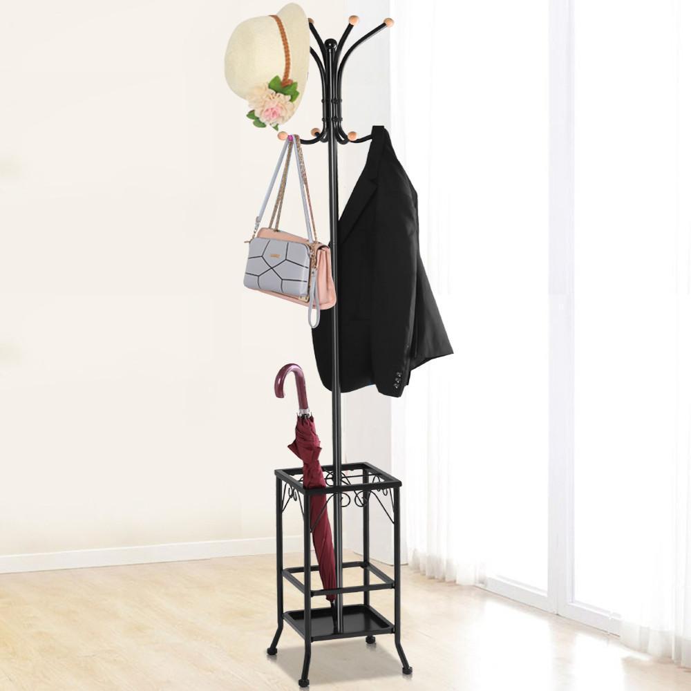 Standing Coat Hat Rack W Umbrella Holder 8 Hook Steady