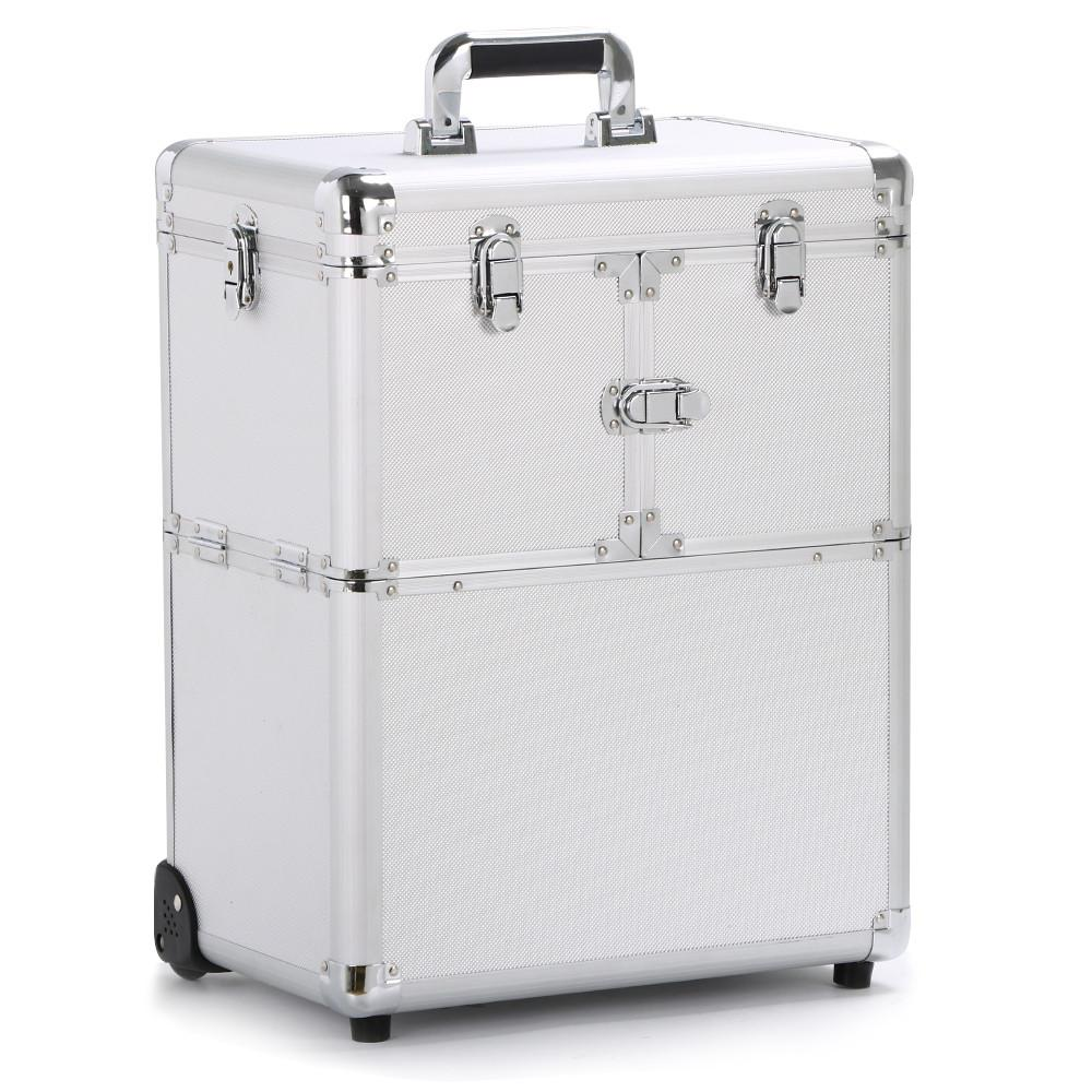 19 Aluminum Trolley Makeup Case Rolling Beauty Cosmetic