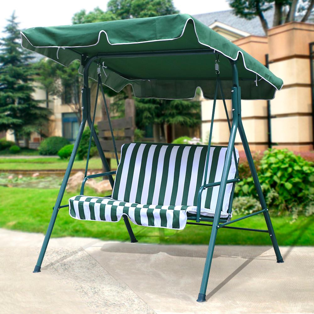 2 seater outdoor patio garden swing cushioned canopy furniture hammock green ebay. Black Bedroom Furniture Sets. Home Design Ideas