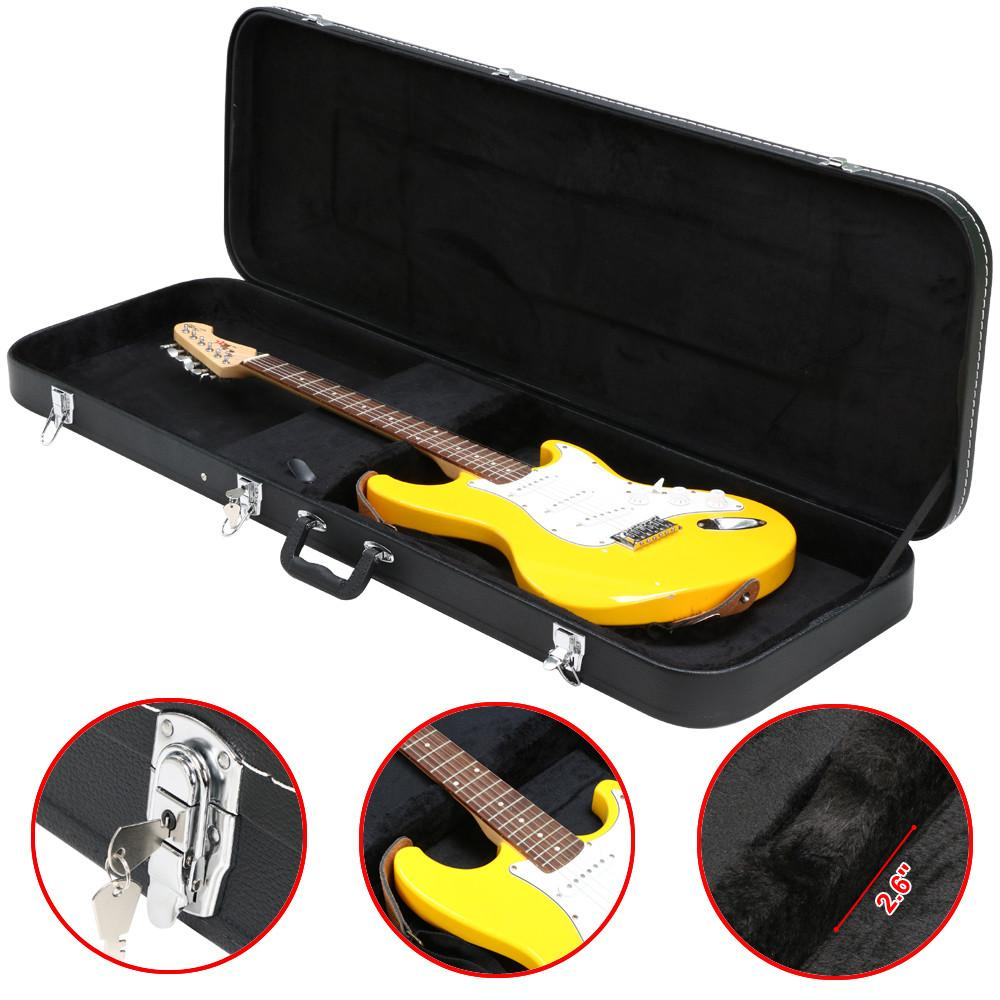 electric hard shell guitar rectangular case w full neck support universal ebay. Black Bedroom Furniture Sets. Home Design Ideas